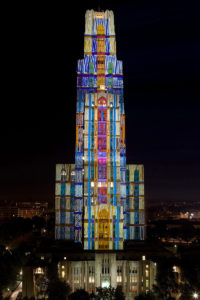 architectural projection on Cathedral of Learning University of Pittsburgh in occasion of 250 Pittsburgh Festival of Lights 2008